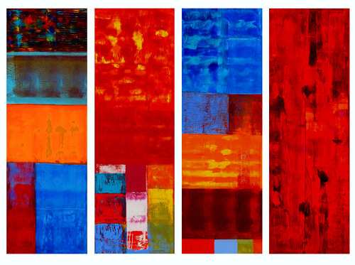 Jazz Quartet, 12x36 inches each(Set of 4)acrylic on canvas by Hooshang Khorasani