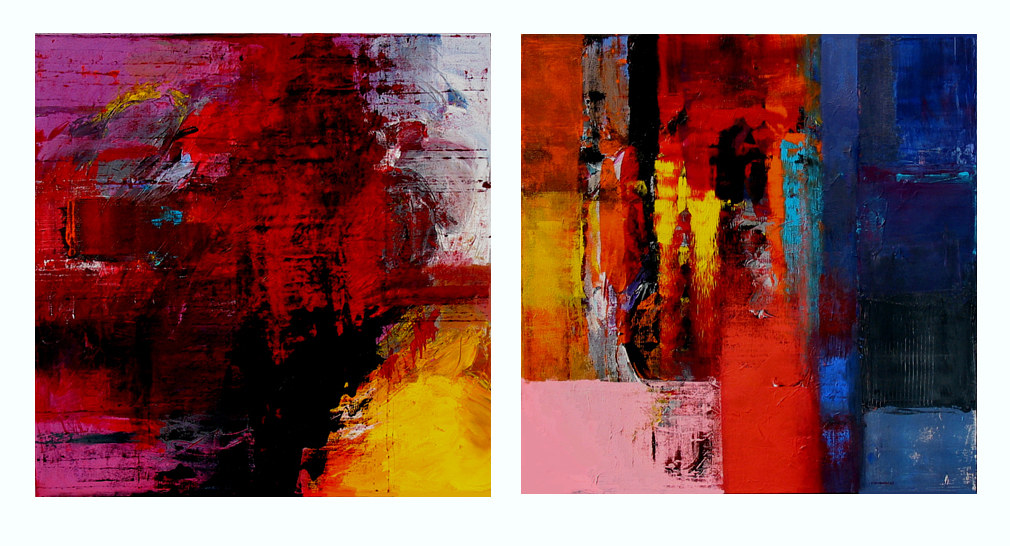 Sunny Day, 30x30 inches each, acrylic-mixed media on canvas by Hooshang Khorasani