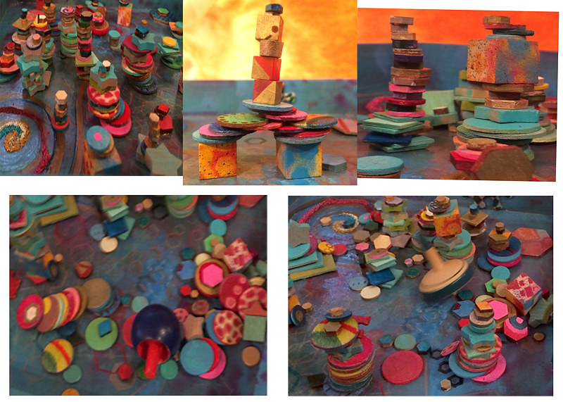 Stack Spin Topple, creative art game  for Juried art show 'Beyond Barriers' Coconino cent for the Arts Flagstaff Az by Frederica  Hall