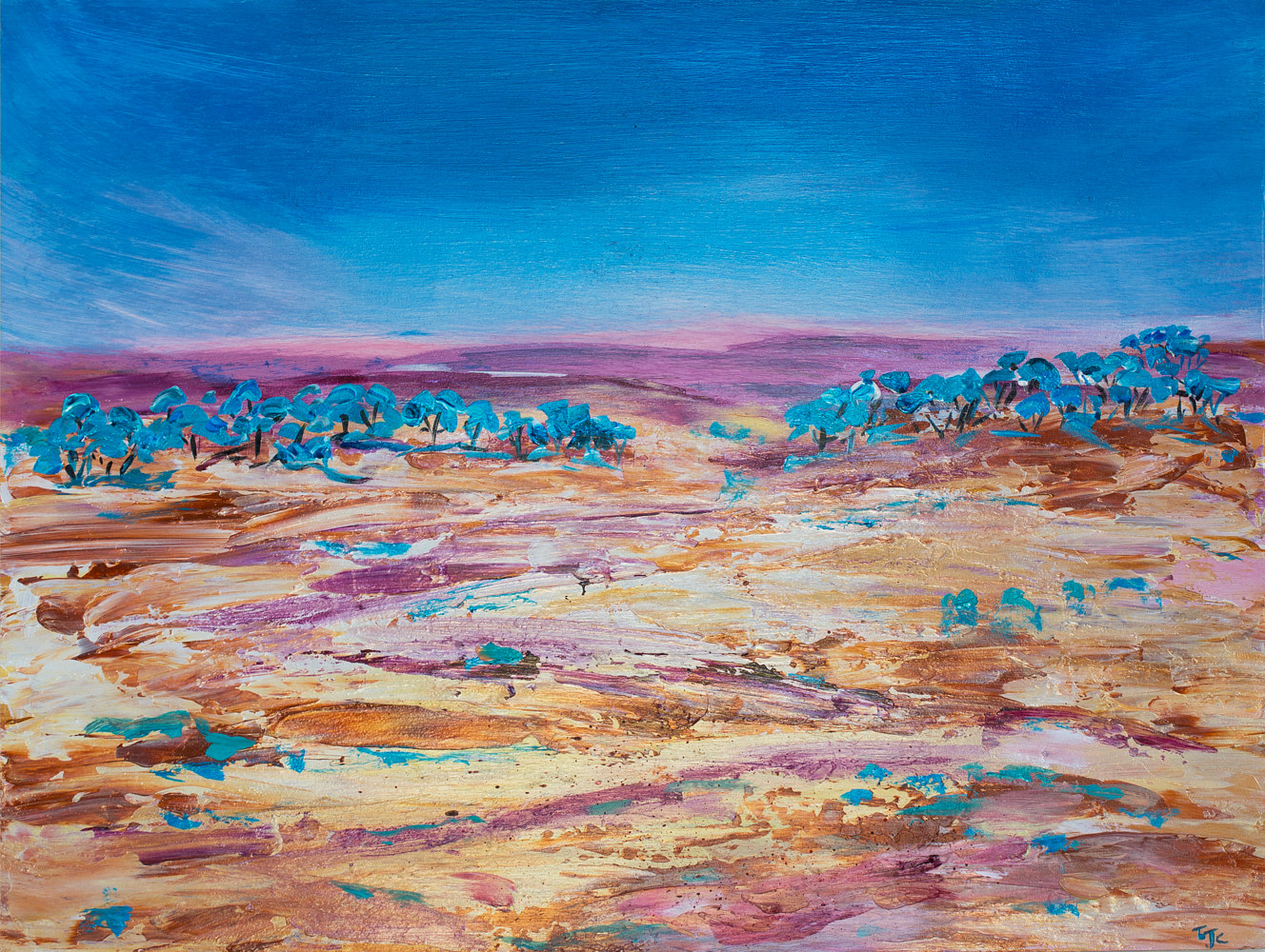Acrylic painting Inland journey  by Laurie Cochrane