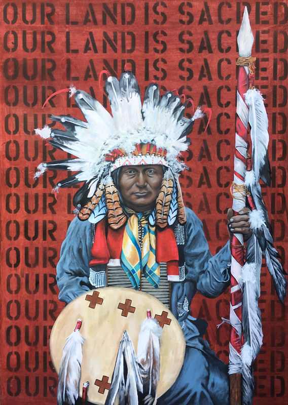 Acrylic painting Our Land Is Sacred by Stuart  Sampson