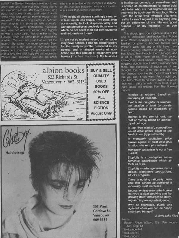 Discorder August 1987 - article page 3 by Robert Shea