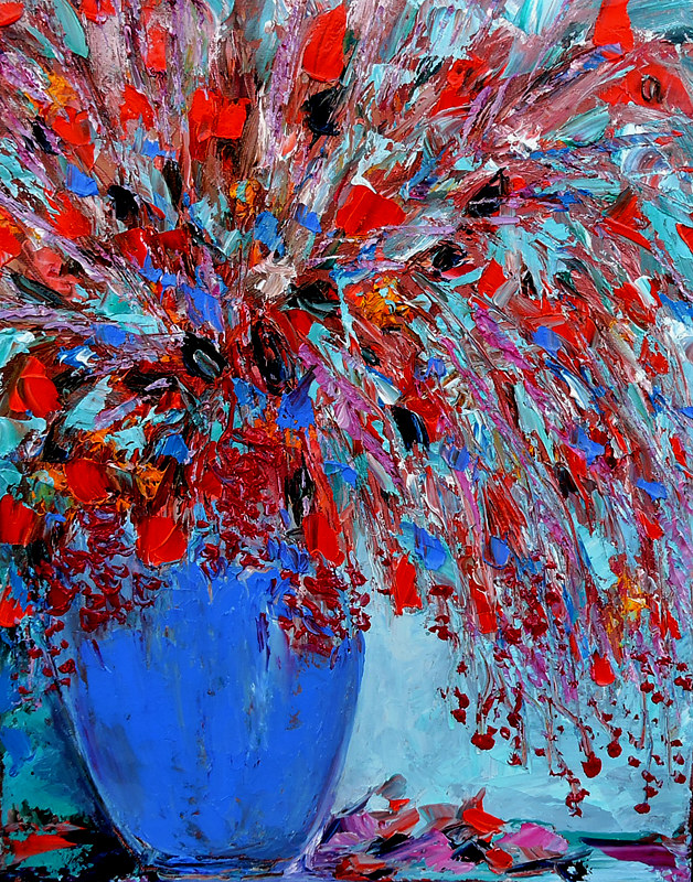 Oil painting Between Red and Blue by Svetlana Barker