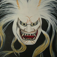 Acrylic painting Japanese Mask #2 by Elizabeth Mercer