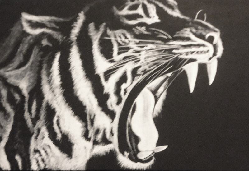 Acrylic painting tiger by Elizabeth Mercer