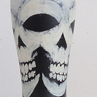 Painting Double Skull Pin by Elizabeth Mercer