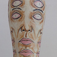 Painting Double Eyed Man Pin by Elizabeth Mercer