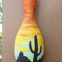 Painting Cactus Sunset Pin by Elizabeth Mercer