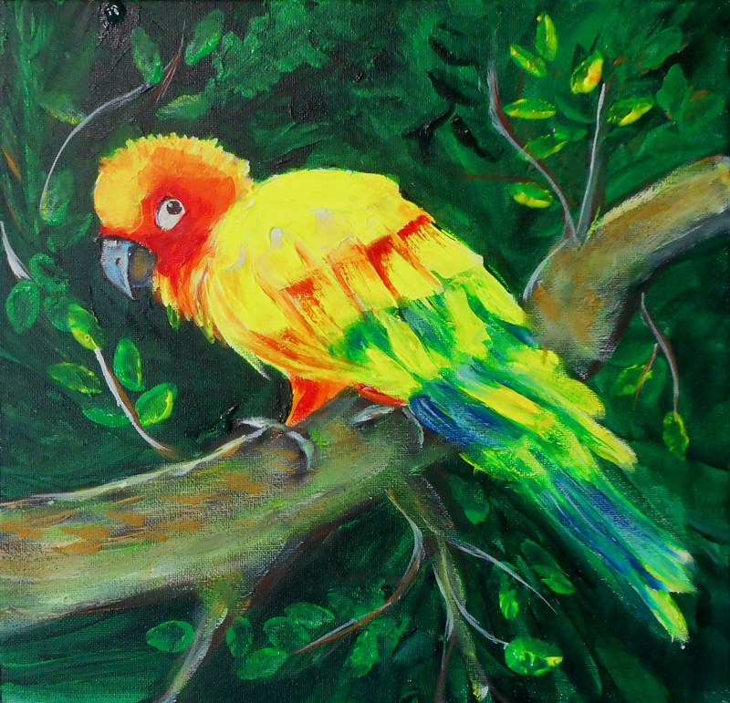 Tropical bird (neon paint) by Jeanne Lloyd