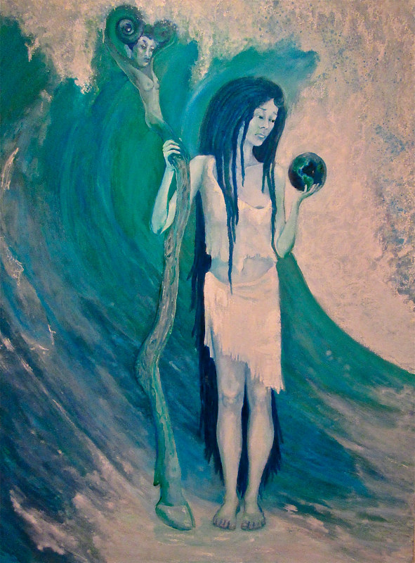 Sea Witch contemplating, what we humans have done to her waters! by Frederica  Hall