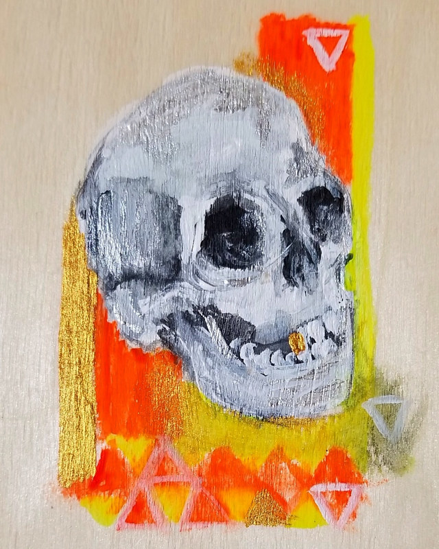 "Acrylic painting Buona Morte -""Hodie Mihi Cras Tibi"" - Today me, tomorrow you. Coming to terms with mortality and death.  by Darcy Martel"