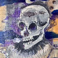Mixed-media artwork Blue skull by Barb Martel