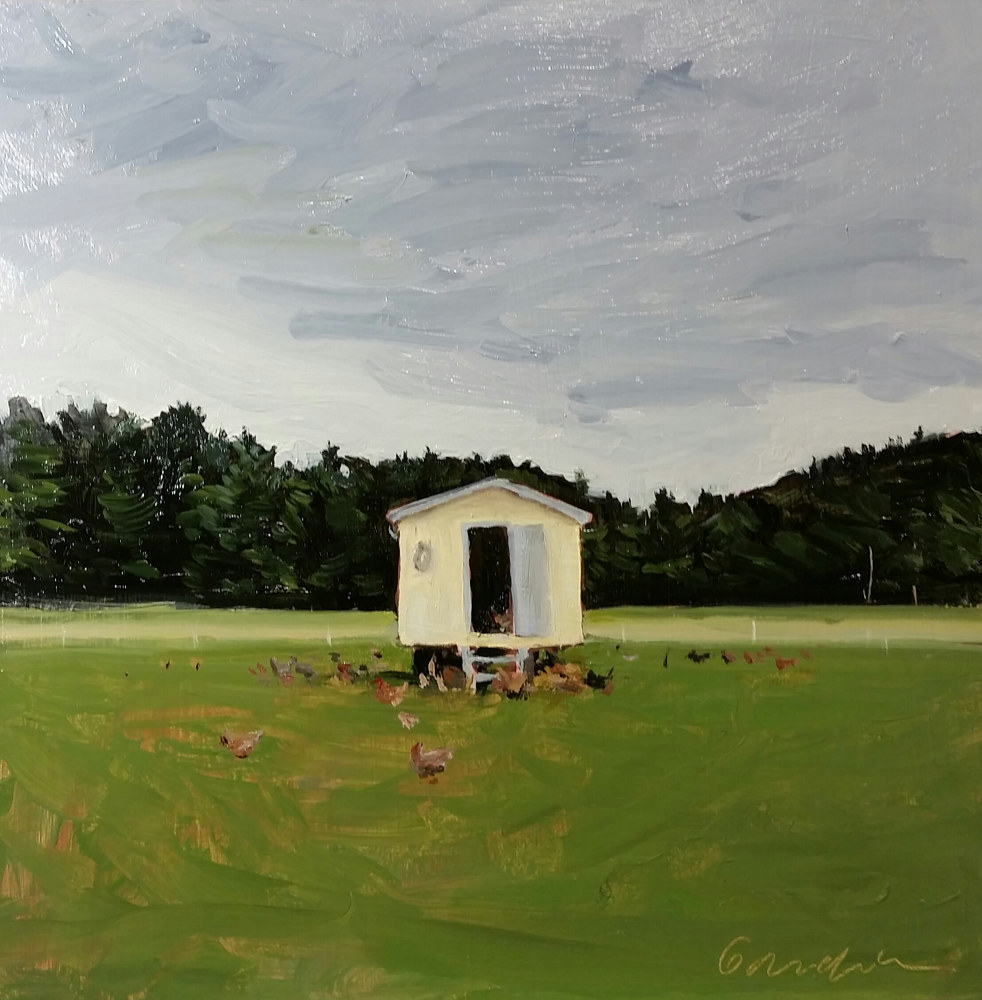Oil painting chicken coop at Asgaard Farm by Michael  Gaudreau