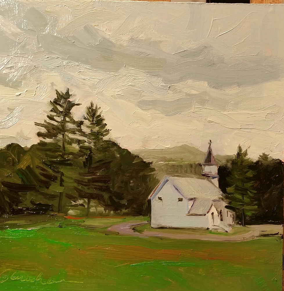 Oil painting St. Brendan's  8x8in  by Michael  Gaudreau