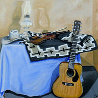 Oil painting Texas Music by Gary Cheatham