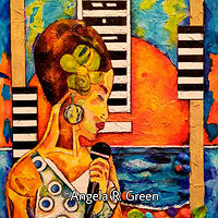 Acrylic painting Jazz by the Beach: Sadie by Angela  Green