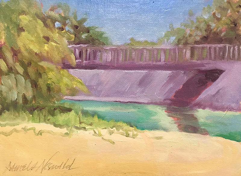 Oil painting Kalialinui Footbridge by Pamela Neswald