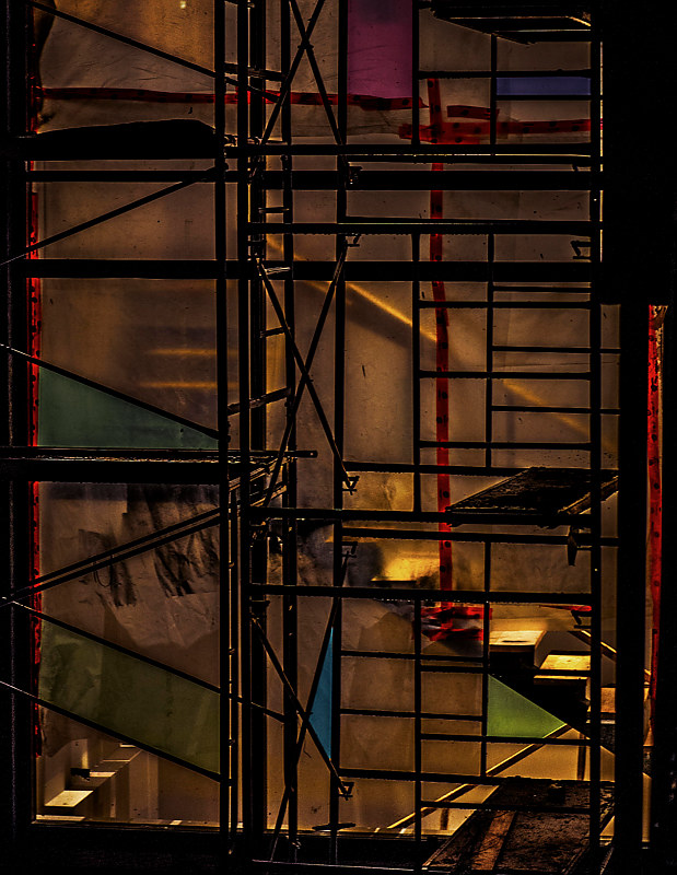 Dimensional Mashup (Window and Scaffolding) by Hunter Madsen