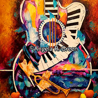 Acrylic painting The Beach Series: Jazz by the Beach IV by Angela  Green