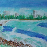 Watercolor Burleigh Beach  by Gwenda Branjerdporn