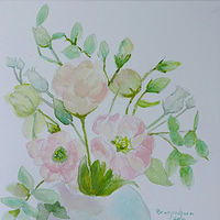 Painting Lisianthus watercolour on canvas varnished with archival non yellowing varnish by Gwenda Branjerdporn