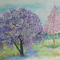 Watercolor Jacarandas  by Gwenda Branjerdporn