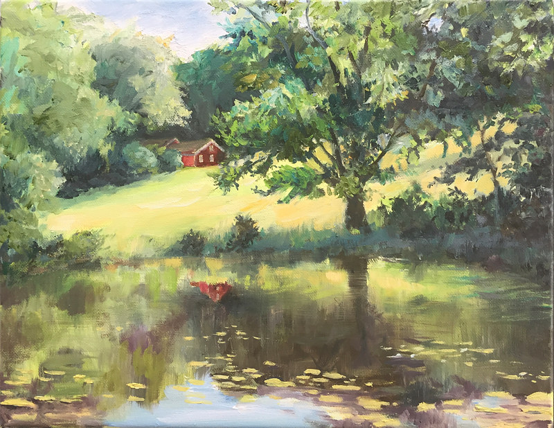Oil painting Pond at Southford Falls, CT. by Betty Ann  Medeiros