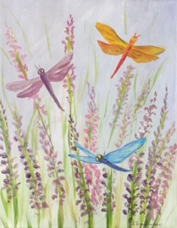 Acrylic painting Dragonflies and Lupines  by June Long-schuman