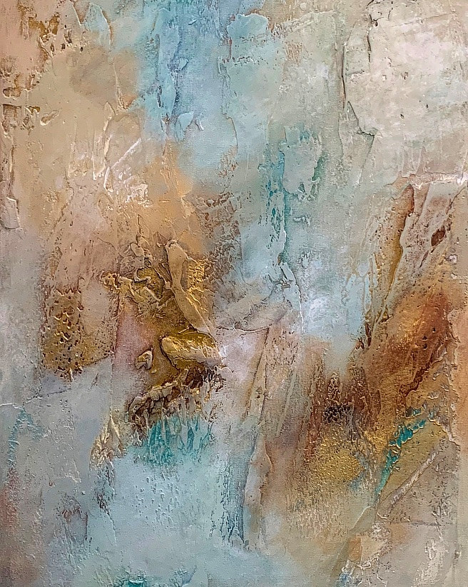 Acrylic painting Gold Crush II by Ginger Thomas