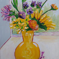 Oil painting Cheerful Flowers for Lisa  by Michelle Marcotte