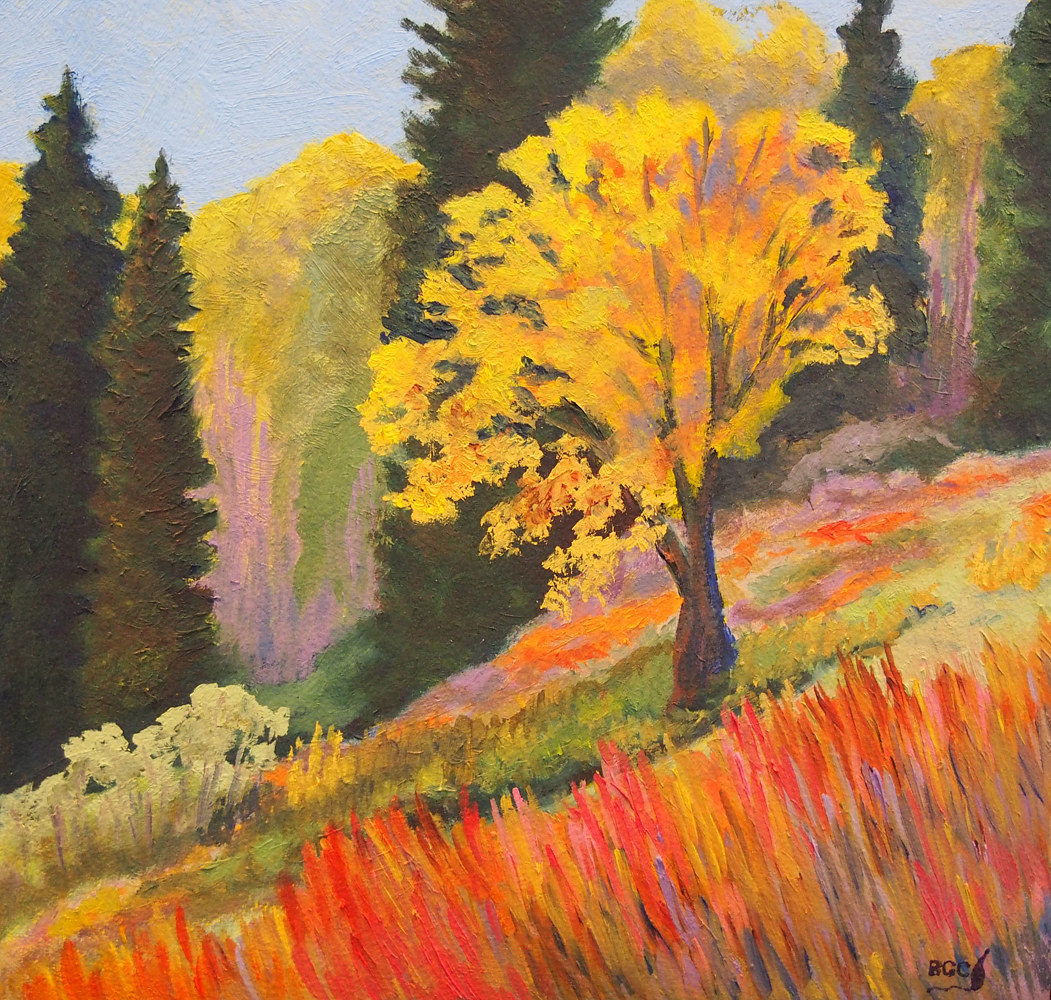 Oil painting Lone Bush by Brent Ciccone