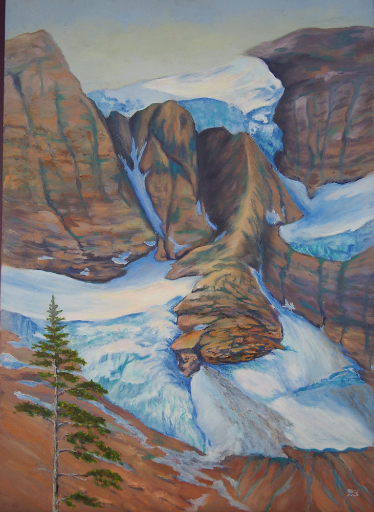 Oil painting Tumbling Glacier by Brent Ciccone