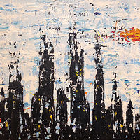 Acrylic painting untitled.cityscape by Jeffrey Newman