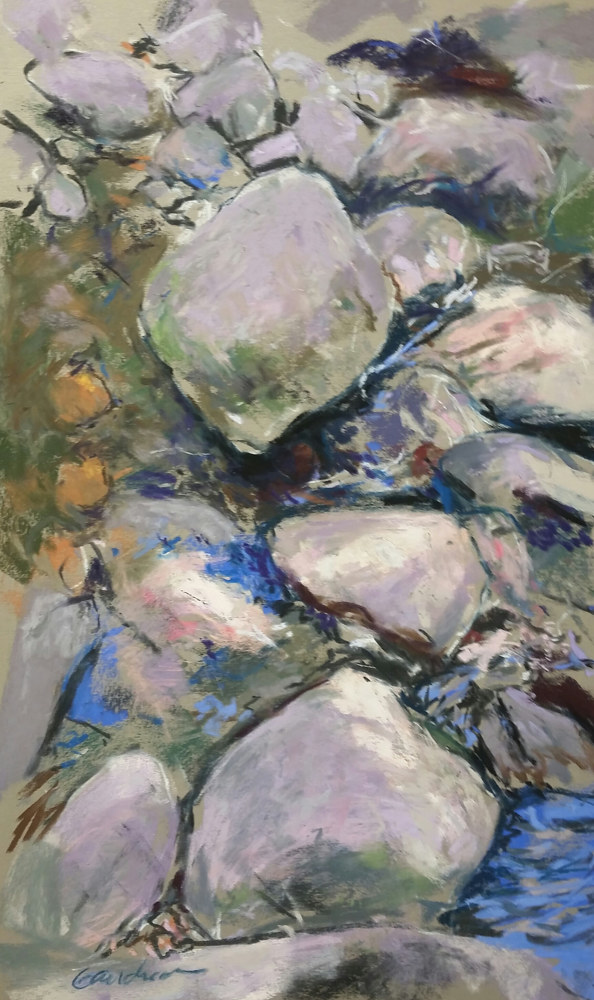 Stepping Stones  11x17 pastel by Michael  Gaudreau