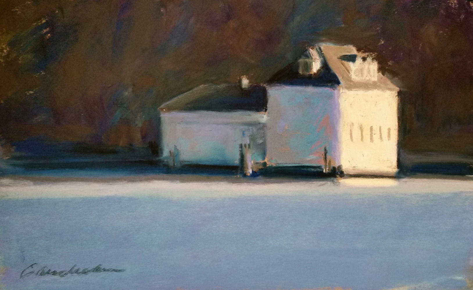 Boat House on the Severn , Morning 9x12 pastel by Michael  Gaudreau