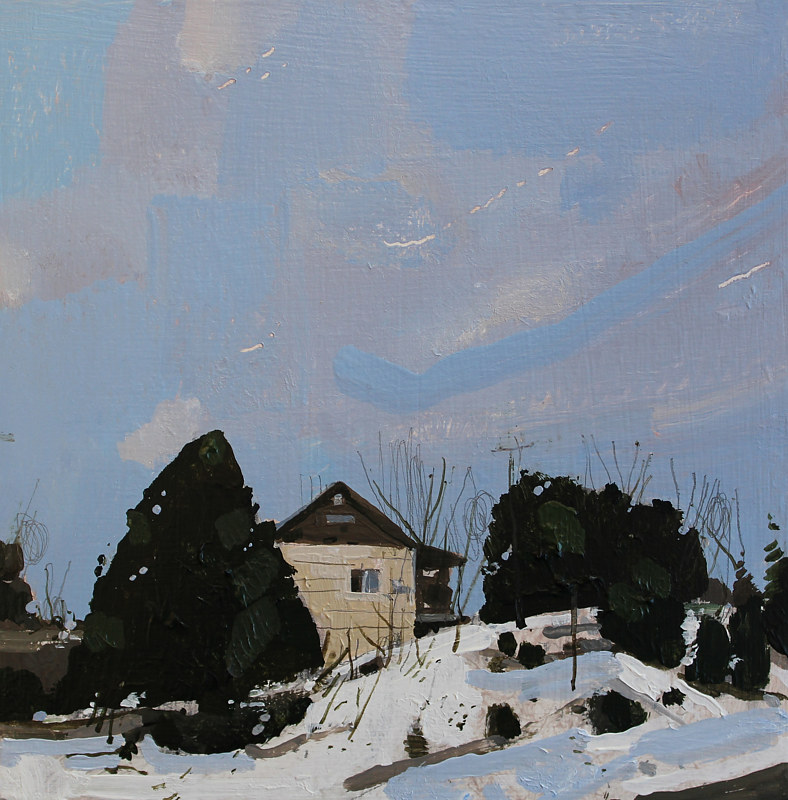 Acrylic painting Chickabiddy Place, February by Harry Stooshinoff