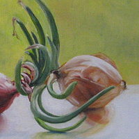 Oil painting Dueling Onions by Judith  Elsasser