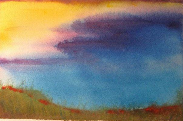 Watercolor Land sky meditation #6  by Lisa Tomczeszyn