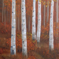 Acrylic painting WoodlandColours#2 by Cecilia Lea