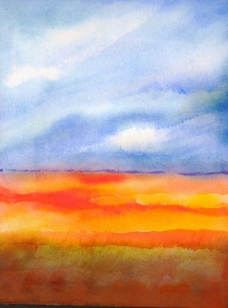 Watercolor Land sky meditation  watercolor by Lisa Tomczeszyn