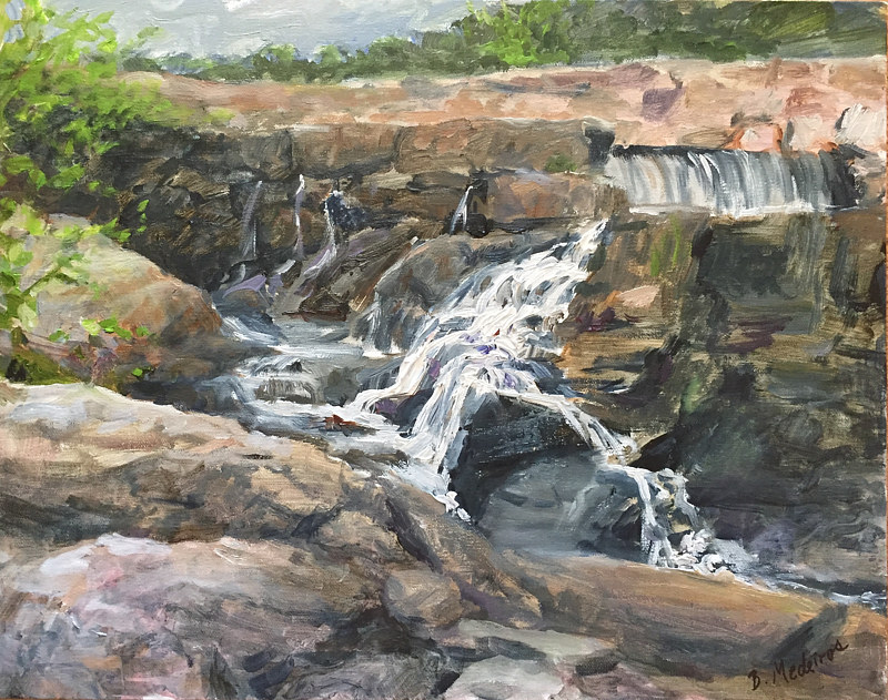 Oil painting Southford Falls in late Summer, CT by Betty Ann  Medeiros