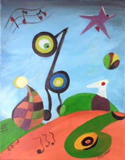 Painting Homage to Miro by June Long-schuman