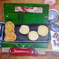 Oil painting Family Traditions - Dad makes camping breakfast by Michelle Marcotte