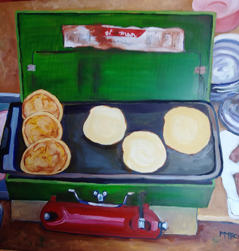 Oil painting camping breakfast inset  by Michelle Marcotte