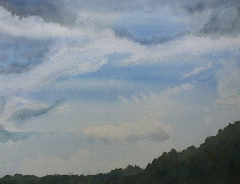 Watercolor Merck forest sky study #1 by Lisa Tomczeszyn