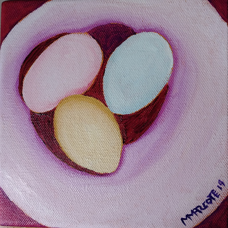 Oil painting The three egg family by Michelle Marcotte