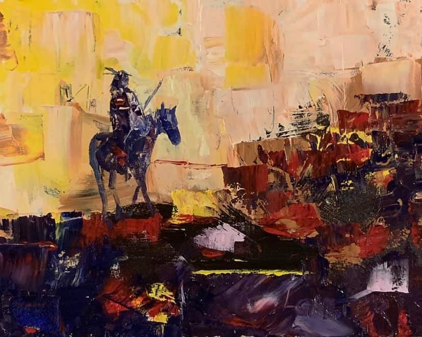 Oil painting Lonesome Rider by Larry Carter