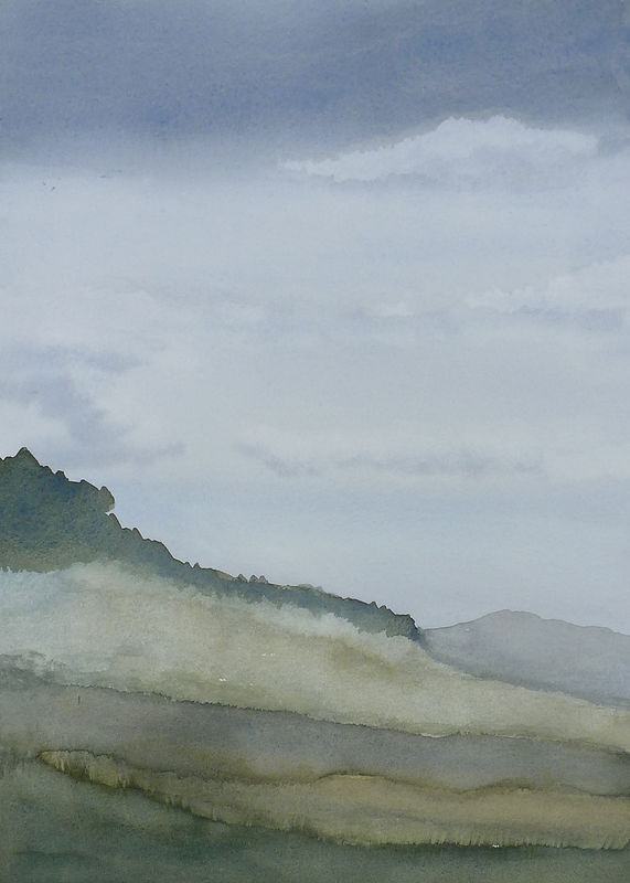 Watercolor Sky with mist study by Lisa Tomczeszyn