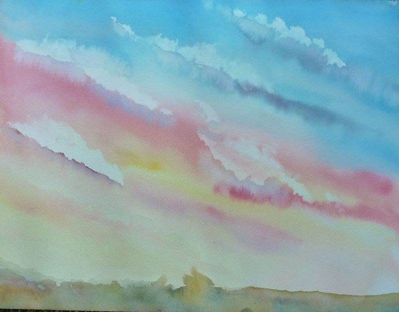 Watercolor Sunset study by Lisa Tomczeszyn