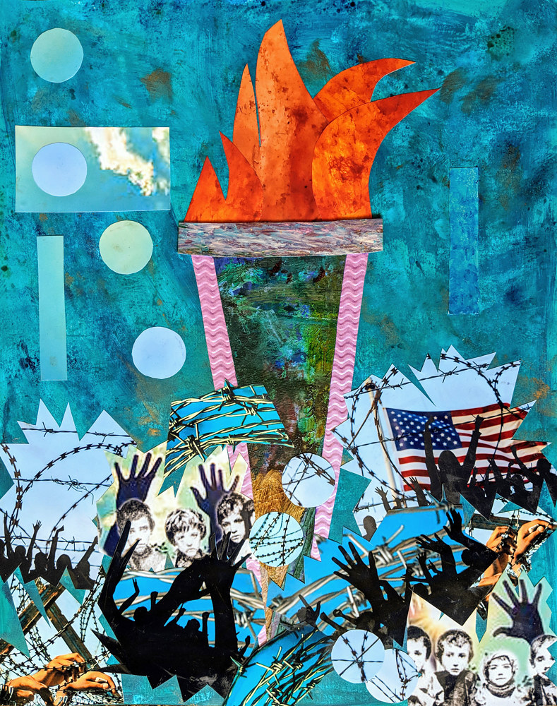 Mixed-media artwork Torch by Pamela Pitt